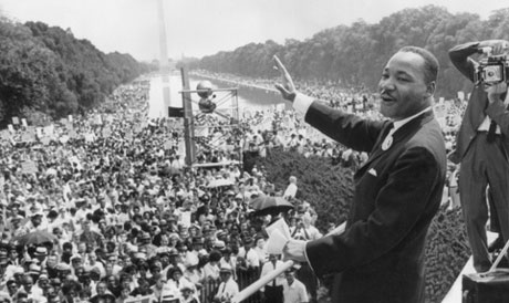 the Reverend Dr. Martin Luther King, Jr., at the march on Washington